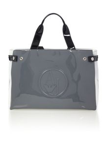 Patent grey multi large tote bag