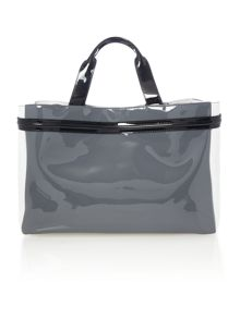 Armani Jeans Patent grey multi large tote bag