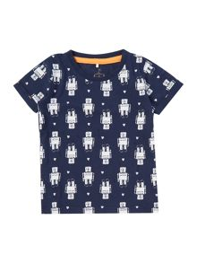 Boys Robot all over print tee