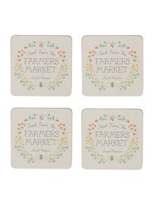 Dickins & Jones Market Place Cork Coasters Set Of 4