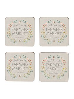 Market Place Cork Coasters Set Of 4