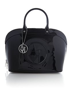 Patent black dome bag