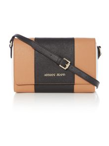 Armani Jeans Eco Saff tan stripe cross body bag