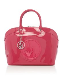 Patent pink dome bag