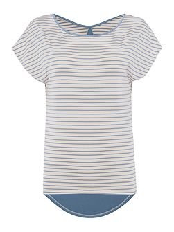 Striped modal short sleeve top