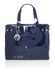 Patent navy large tote bag