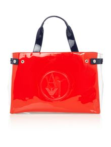 Patent multi red tote bag