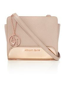 Armani Jeans Specchiato pink and gold small cross body bag