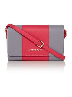 Eco saff pink stripe cross body bag