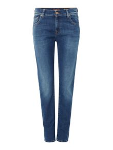 Relaxed skinny jean in La mid indigo