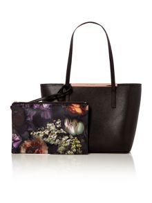 Phoebie black large zip top tote bag with pouch