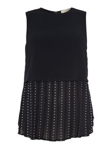 Short sleeve embellished pleat top