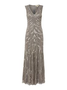 Linea Sequin detail fishtail maxi dress