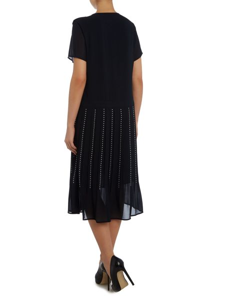 Michael Kors Short sleeve pleat embellished skirt