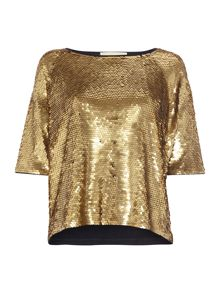 Michael Kors Raglan sleeve sequin top