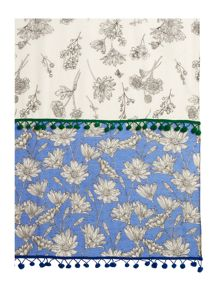 Dickins & Jones Flower Double Print Pom Scarf