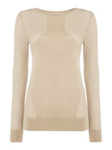 Mesh sleeve jersey knit jumper