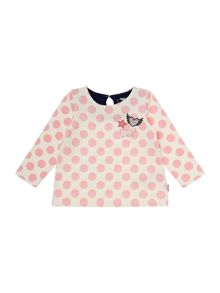 name it Girls Unicorn badge polka dot top