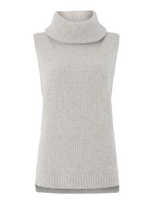 Sleeveless rollneck knit sweater