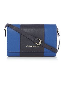 Eco saff blue stripe cross body bag