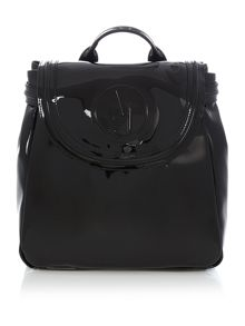 Patent black backpack bag