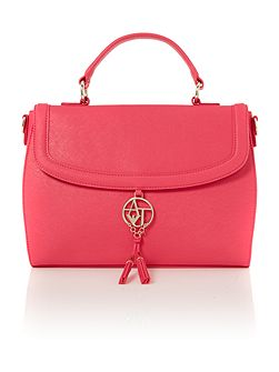 Armani Jeans Eco Saff pink flap over satchel