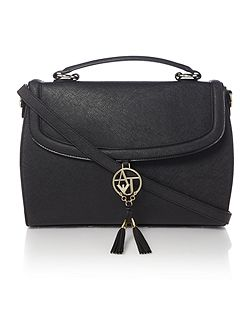 Eco Saff black flap over satchel bag