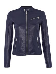 Lauren Ralph Lauren Quoice collarless leather bike with zip front