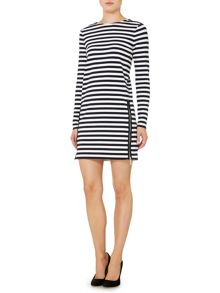 Long sleeve zip detail stripe dress