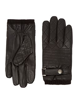 Mens quilted suede gloves