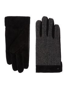 Dents Mens herringbone and suede gloves