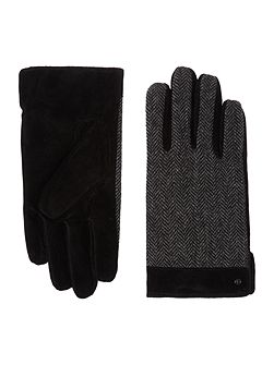 Mens herringbone and suede gloves