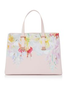 Haley crosshatch light pink floral large tote bag