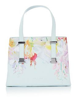 Ted Baker Hanica crosshatch light green floral tote