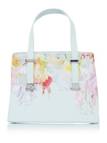 Ted Baker Hanica crosshatch light green floral tote bag