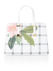 Ted Baker Tinaa crosshatch white floral large tote bag
