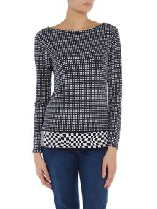 Long sleeve cooper print top