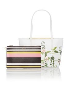 Ted Baker Tammie white saffiano floral small tote bag