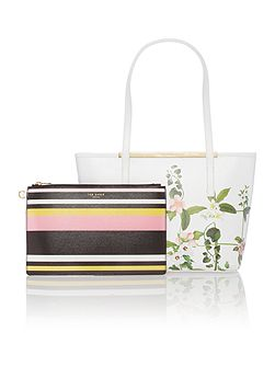 Ted Baker Tammie white saffiano floral small tote