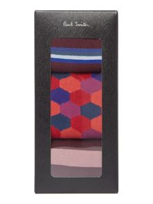 3 Pack Striped and Hexagon Print Socks