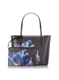Carriee black saffiano floral large tote bag