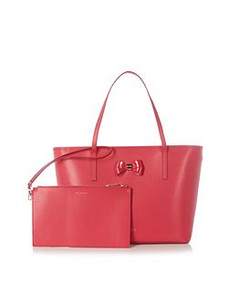 Biancaa pink saffiano bow large tote bag