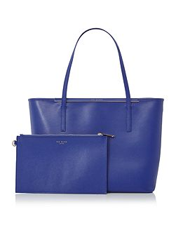Celiaa blue saffiano large tote bag