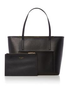 Ted Baker Alanis black saffiano tote bag with clutch