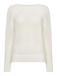 Long sleeve mesh knit sweater