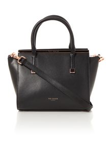 Tabatha black leather crossbody tote bag