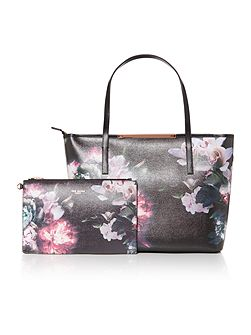 Lietta black floral large tote bag