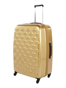 Lulu Lips gold 71cm 4 wheel case