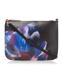 Claria black leather floral crossbody