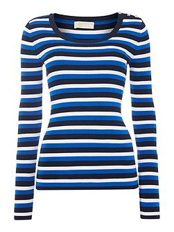 Michael Kors Long sleeve stripe scoop neck top